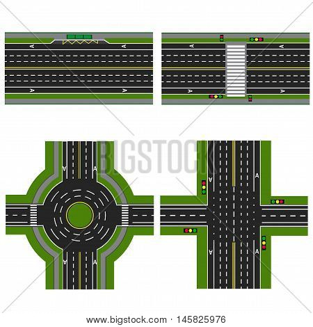 Set of different sections of the highway with a circle roundabouta isolated. Image sidewalks, transition lanes for public transport. View from above. Vector illustration