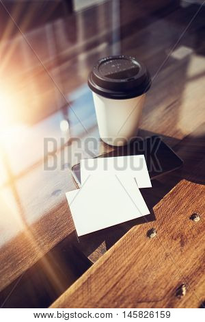 Two Blank White Business Card Mockup Wood Table Take Away Coffee Cup Coworking.Modern Phone Ready Work Office Glass Background.Clean Object Private Corporate Information, Vertical Hot Beverages Mock Up