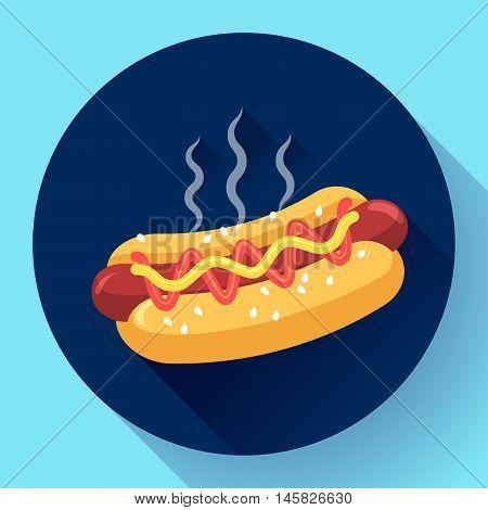 Hot Dog vector icon. hotdog flat fast food vector illustration