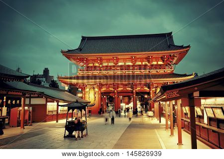 TOKYO, JAPAN - MAY 15: Historical architecture in temple on May 15, 2013 in Tokyo. Sensoji Temple, founded in 645 CE, making it the oldest temple in Tokyo.