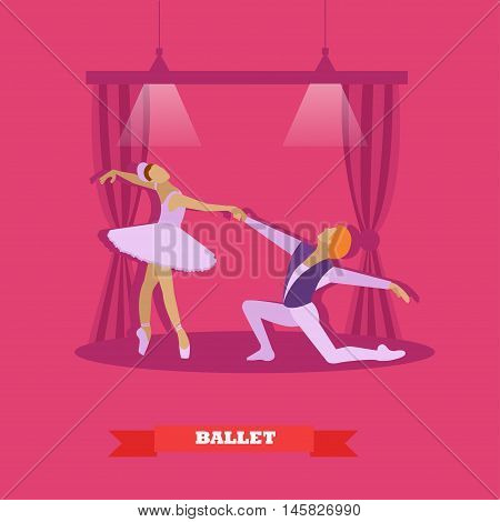 Ballet dancers dance on a stage. Ballerina and make ballet dancer vector illustration in flat style design.