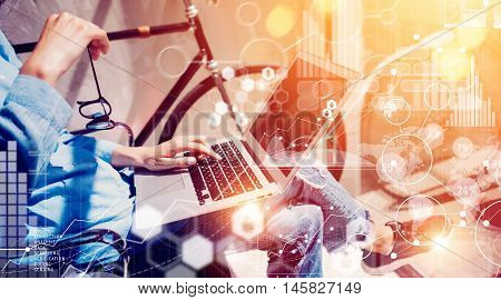 Women Trading Manager Making Great Business Online Solution.Social Marketing Professional Decision Corporate Work Concept Modern Office.Global Startup Connections Virtual Icon Graph Interface Research