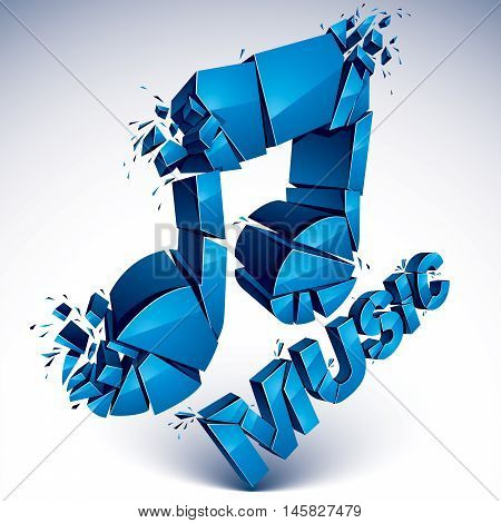 3d vector blue shattered musical notes with music word. Art melody transform symbol broken into pieces.