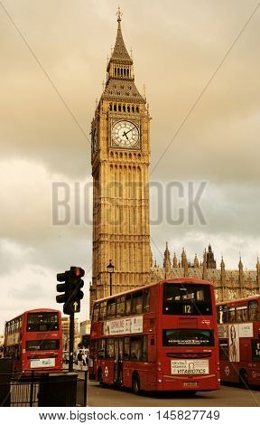 london uk sep 27 street view with big ben and red bus on