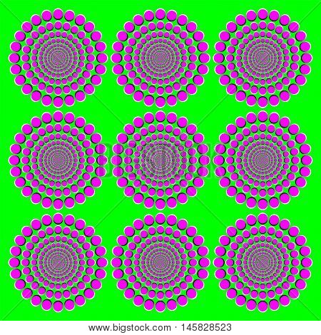 Blooming pink wheels motion illusion. It seems the wheels with magenta dots on green background become bigger when moving the eyes from one to another. Peripheral drift or Fraser Wilcox illusion.