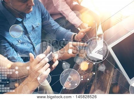 Global Strategy Connection Sending Virtual Icon Innovation Graph Interface.Coworkers Making Great Online Business Solution.Trading Team Discussion Corporate Work Concept Office.Electronic Gadget Hand
