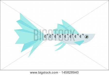 Aquarium fish. Guppy flat illustration. The inhabitants of marine reef aquariums and ponds