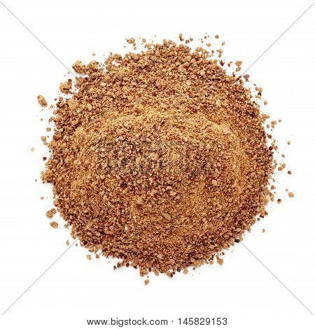 Organic powder of Indian Jujube (Ziziphus mauritiana). Isolated on white background. Top view.