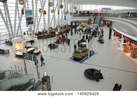 BUDAPEST, HUNGARY - DECEMBER 05, 2015: Interior of the the terminal building at Budapest Liszt Ferenc Airport. The new building called Skycourt was finished in March 2011.