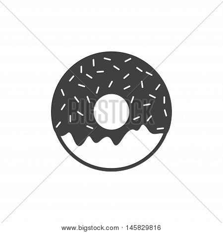 Vector donut icon isolated on white background. Yummy cookie donut food icon. Candy decoration donut with topping. Glazed pastry delicious snack, eat candy.