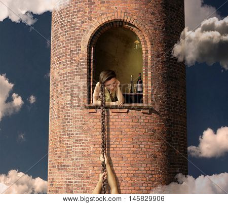 Rapunzel is waiting for her lover in a high tower.