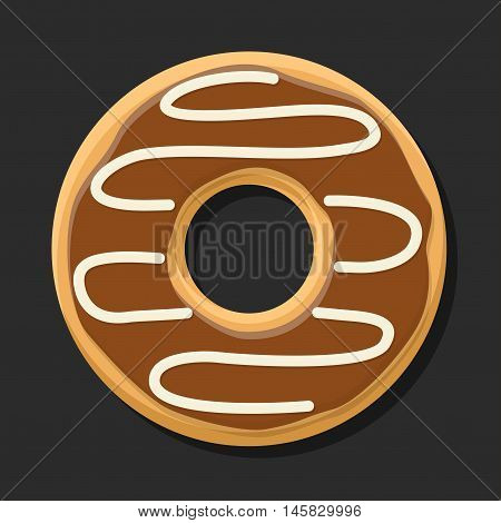 Chocolate sweet brown donut isolated on dark background. Yummy cookie donut food. Candy decoration color donut with topping. Glazed pastry delicious snack, eat candy.