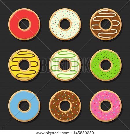 Set sweet colorful vector donuts isolated on dark background. Chocolate yummy cookie donuts food. Candy decoration color donuts collection. Glazed pastry delicious snack, eat candy.