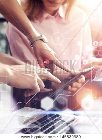 Global Connection Virtual Icon Graph Interface Online Market Research.Young Coworkers Team Analyze Meeting Report.Business Woman Startup Project.People Making Great Decisions Office.Closeup Blurred