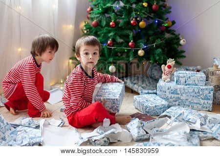 Two Sweet Boys, Opening Presents On Christmas Day