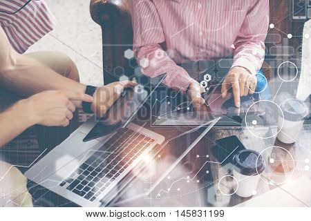 Global Connection Virtual Icon Diagram Interface Marketing Reserching.Young Coworkers Team Analyze Finance Report Electronic Gadget.Businessman Startup Online Market Project Closeup Blurred Background