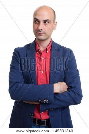 Bald Man Looking Sideways