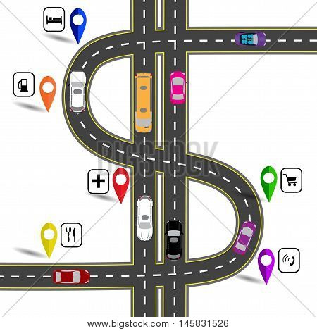 Winding road with signs. The path specifies the navigator. Humorous image. Vector illustration