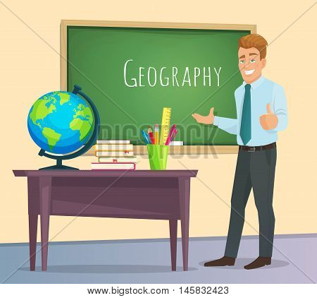 Geography teacher stands at the blackboard, and a lesson. Education school concept background. Vector illustration of a flat design.