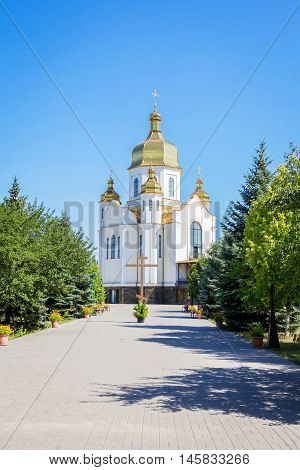 Zaporizhia/Ukraine- July 16, 2016: exterior and the yard of orthodox St. Nicholas Church, referred to Kiev Patriarchy. The building was completed in October, 2011