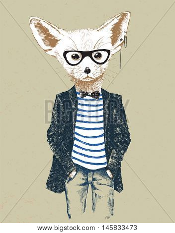 Hand drawn dressed up fennec in vintage style