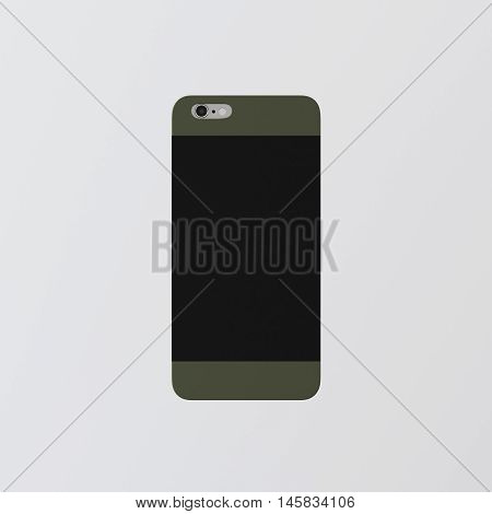 Closeup One Blank Green Clean Template Cover Phone Plastic Case Smartphone Mockup.Generic Design Mobile Back Isolated Empty Background.Ready Corporate Logo Black Label Message.3d rendering