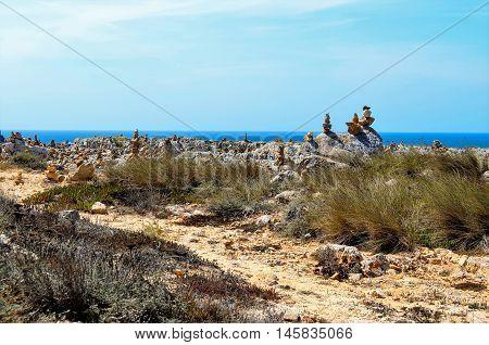 View of stone pillars made by people, Sagres, Algarve region, Portugal