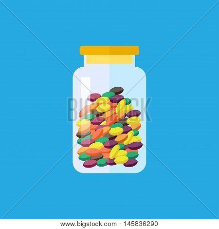 Vector flat color lollipops in jar icon. Food illustration