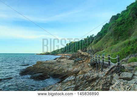 The rocky coastline at Rayong province, Thailand.