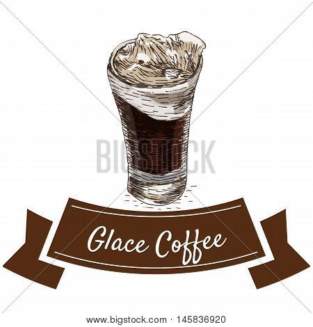 Vector illustration colorful set with glace coffee. Illustration of coffee on white background