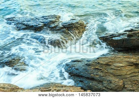 Close up of a rocky beach, Thailand.