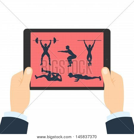 Fitness app for tablet. Hands holding tablet. Bodybuilding app. How to do gym exercises like lifting weights, pull ups, crunches, squats and plank.
