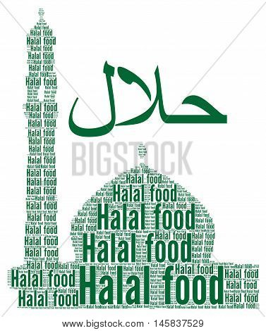 Halal food concept with a white background