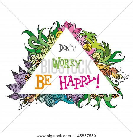 don't worry be happysummer backgrounddoodle vector illustration
