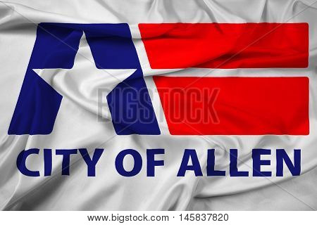 Waving Flag of Allen Texas USA, with beautiful satin background.