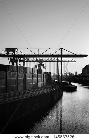 Industrial area Frankfurt Osthafen black and white