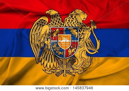Waving Flag Of Armenia With Coat Of Arms