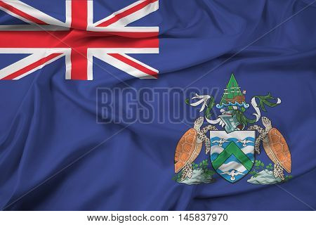 Waving Flag of Ascension Island Canada, with beautiful satin background.