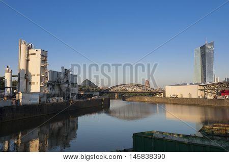 Osthafen industrial area Frankfurt Germany at dawn