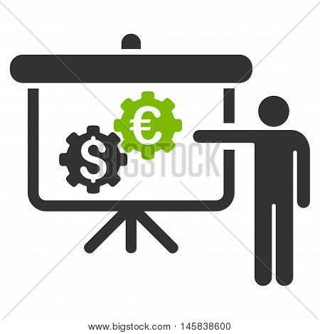 International Industry Presentation icon. Vector style is bicolor flat iconic symbol, eco green and gray colors, white background.