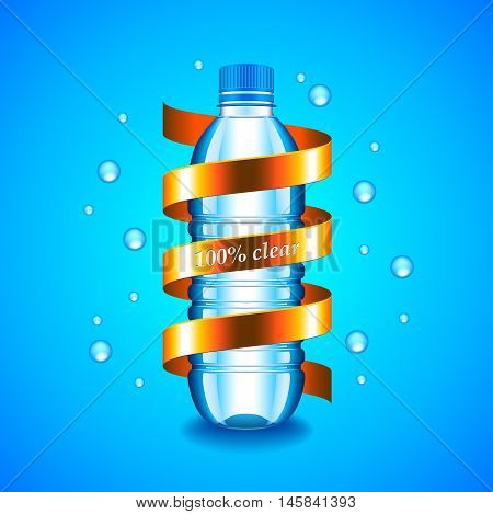 Water concept with plastic bottle and golden ribbon around it blue background