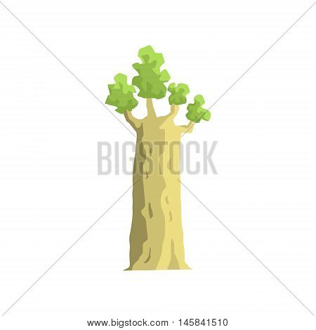 Young Baobab Tree Jungle Landscape Element. Simple Tropical Forest Object Illustration Isolated On White Background.