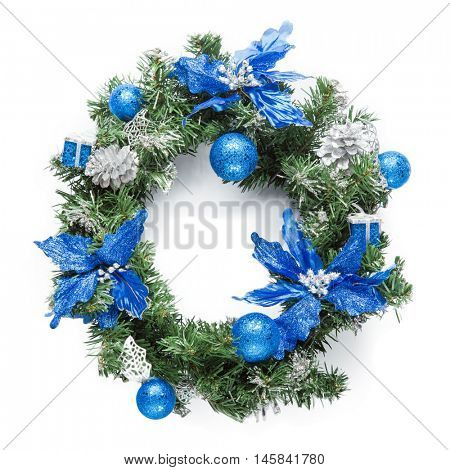 Christmas blue wreath isolated on white