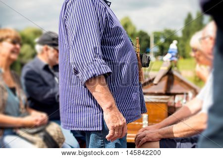 Belly of traditional skipper with horn. Berkelzomp. Lochem. Achterhoek. Gelderland. The Netherlands.
