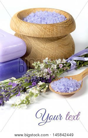 lavender, sea salt and soap for Spa and aromatherapy on a white background