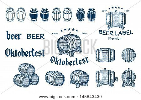 Vector Set Of Barrels In Vintage Style. Collection Barrels On A White Background - Stock Vector.