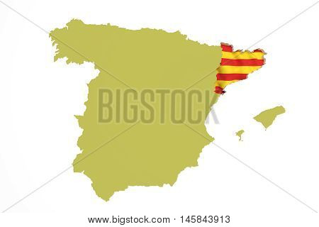 Map Of Catalonia And Flag