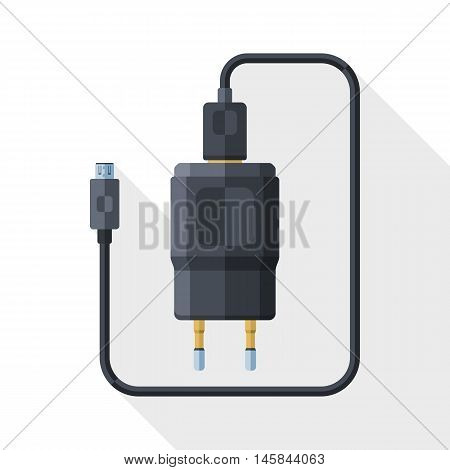 Vector Charger For Phone With Micro Usb Connector Icon. Simple Icon In Flat Style With Long Shadow O