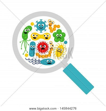 Image of magnifier and cute funny bacterias, germs in flat cartoon style isolated on white background. Art vector illustration.
