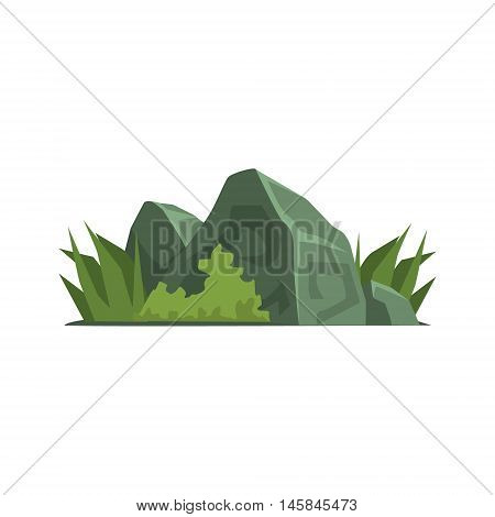 Rocks Covered With Vegetation Jungle Landscape Element. Simple Tropical Forest Object Illustration Isolated On White Background.